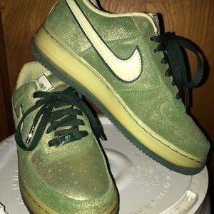 Green Glittery Air Force 1